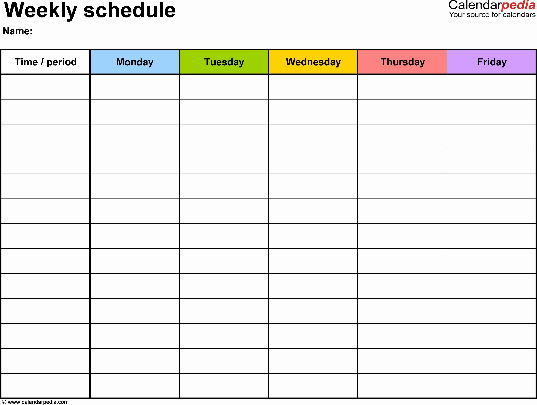 Excel Calendar Schedule Template Beautiful Weekly Calendar Excel