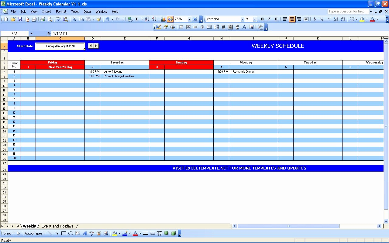 Excel Calendar Schedule Template Best Of Weekly Calendar