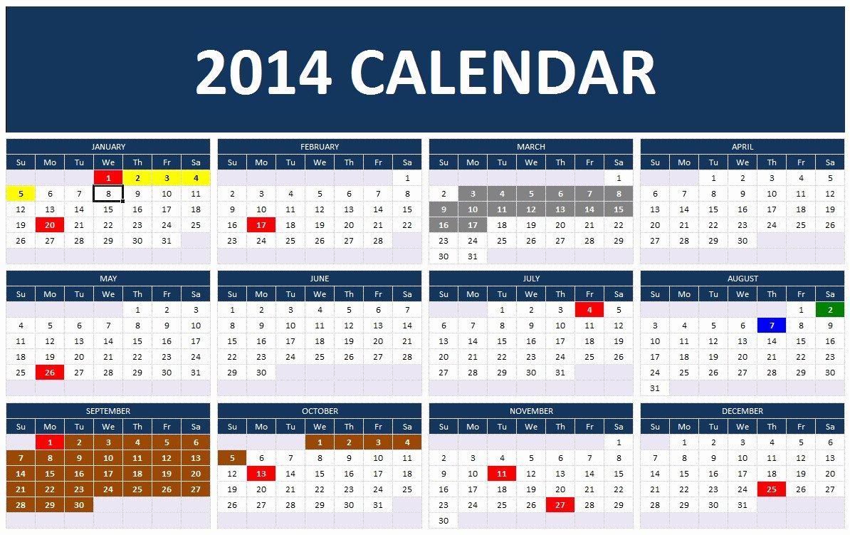 Excel Calendar Schedule Template Fresh 2014 Calendar Templates