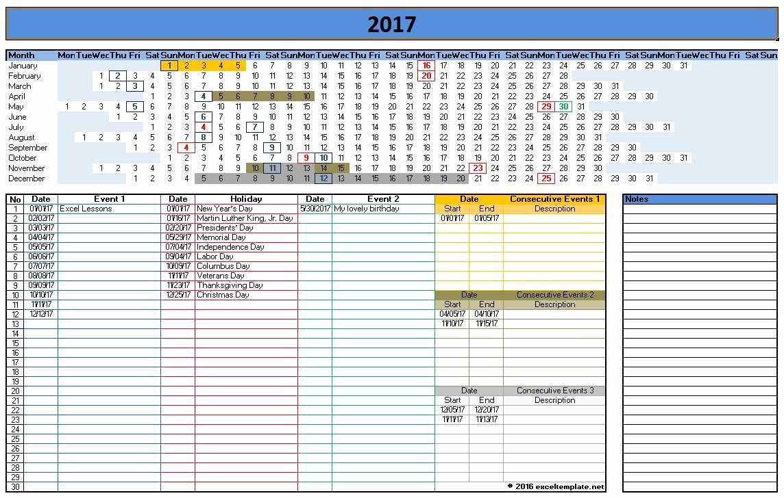 Excel Calendar Schedule Template Fresh 2017 Calendar Templates