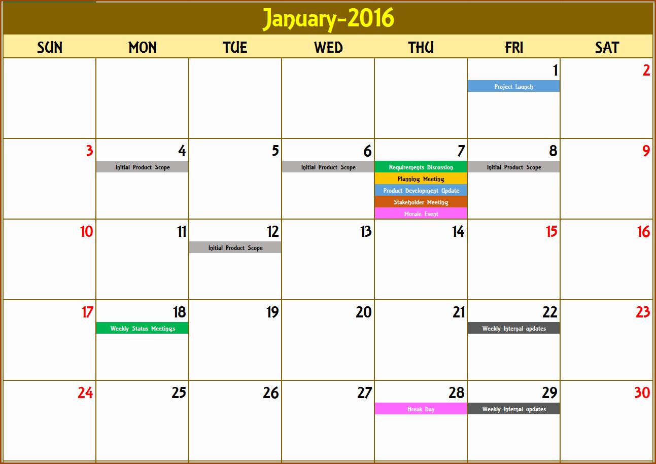 Excel Calendar Schedule Template Fresh event Calendar Excel Template