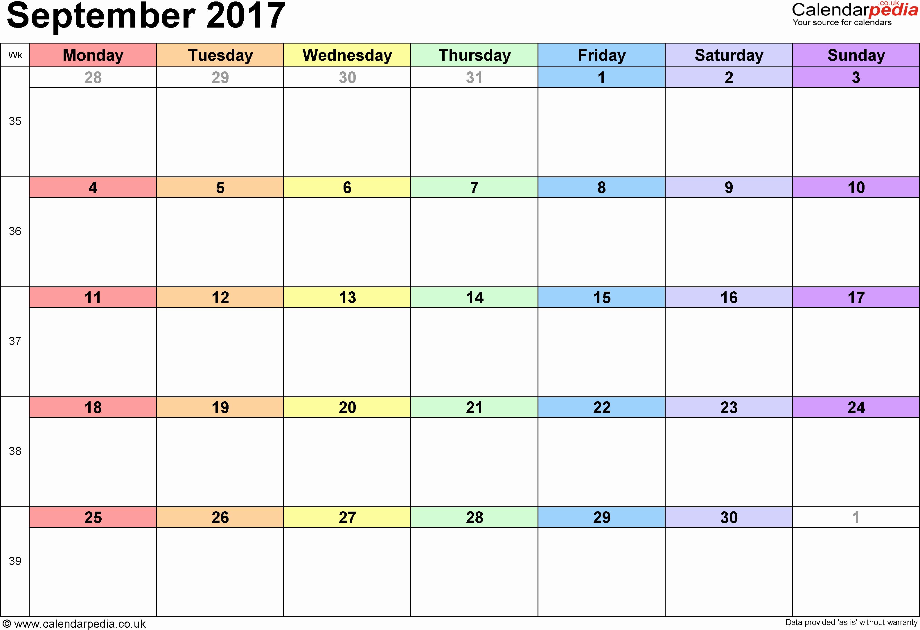 Excel Calendar Schedule Template Fresh September 2017 Calendar Excel