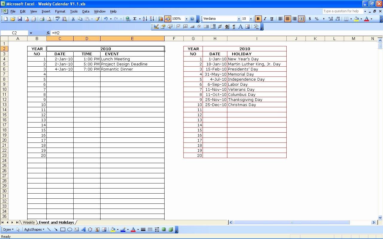 Excel Calendar Schedule Template Fresh Weekly Calendar In Excel