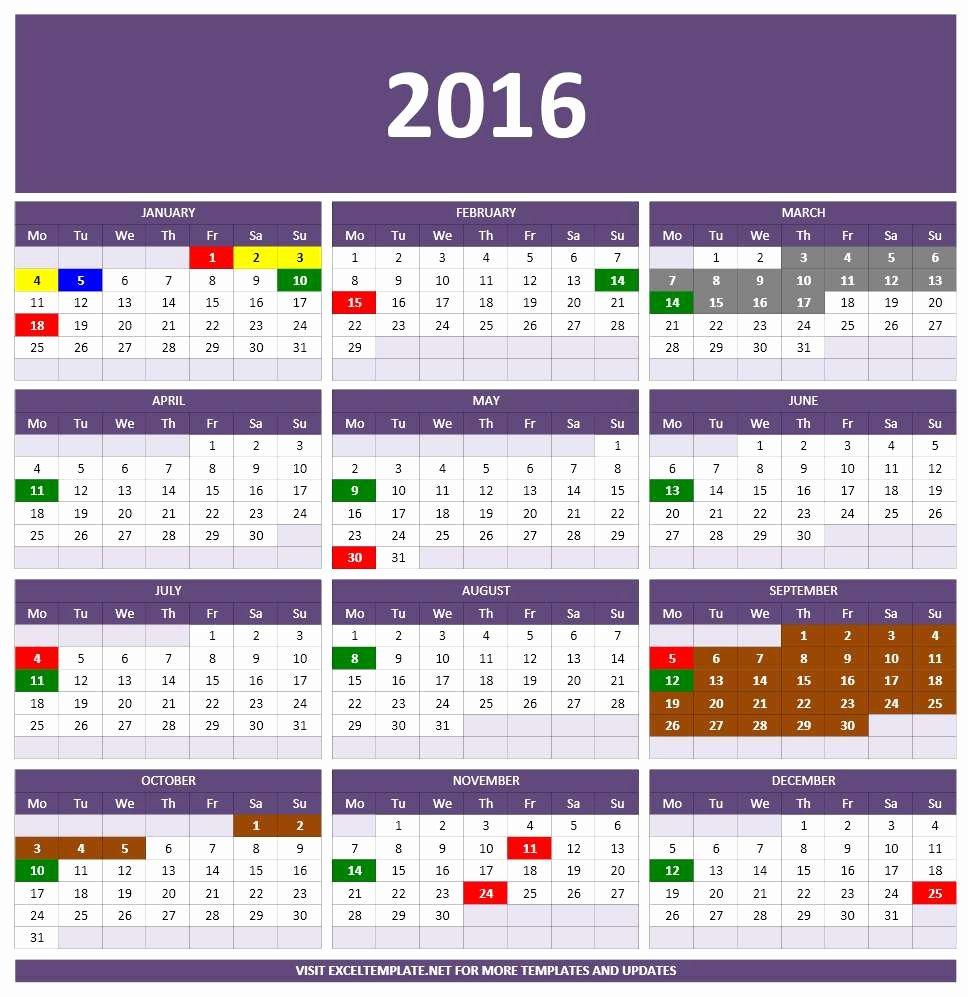 Excel Calendar Schedule Template Inspirational 2016 Calendars