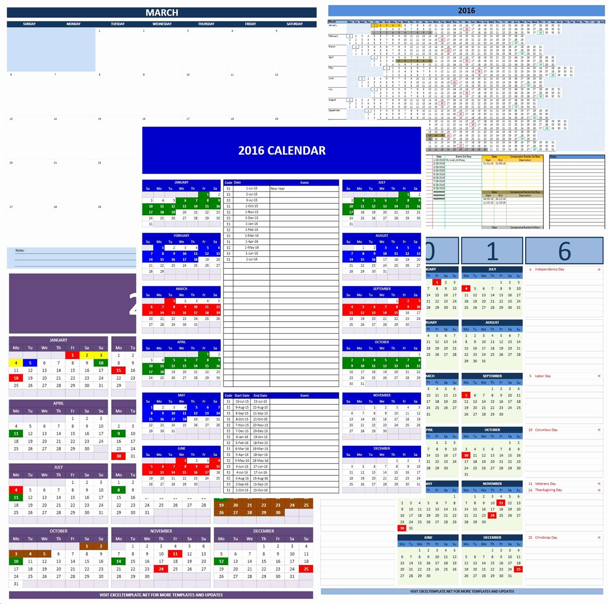 Excel Calendar Schedule Template Inspirational 2016 Calendars