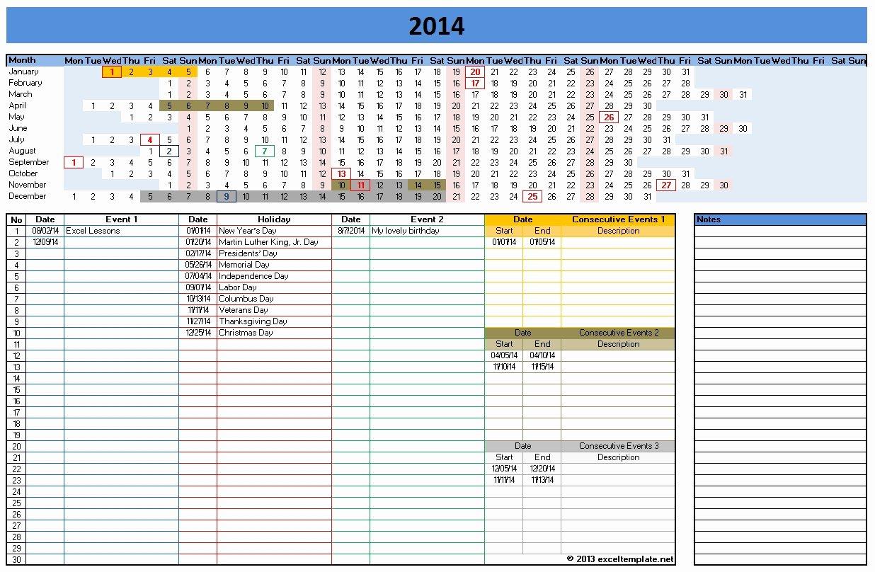 Excel Calendar Schedule Template Inspirational Calendar Template 2014 Excel