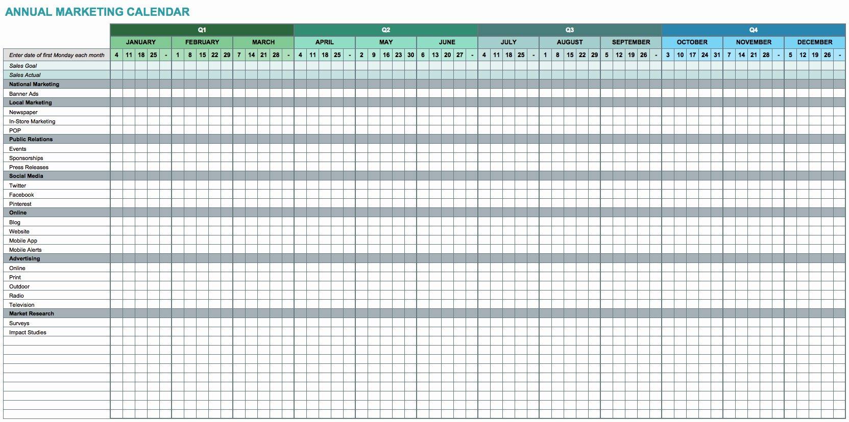 Excel Calendar Schedule Template Lovely 9 Free Marketing Calendar Templates for Excel Smartsheet