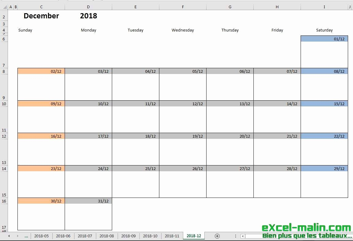 Excel Calendar Schedule Template Lovely Printable Monthly Calendar Template for Excel