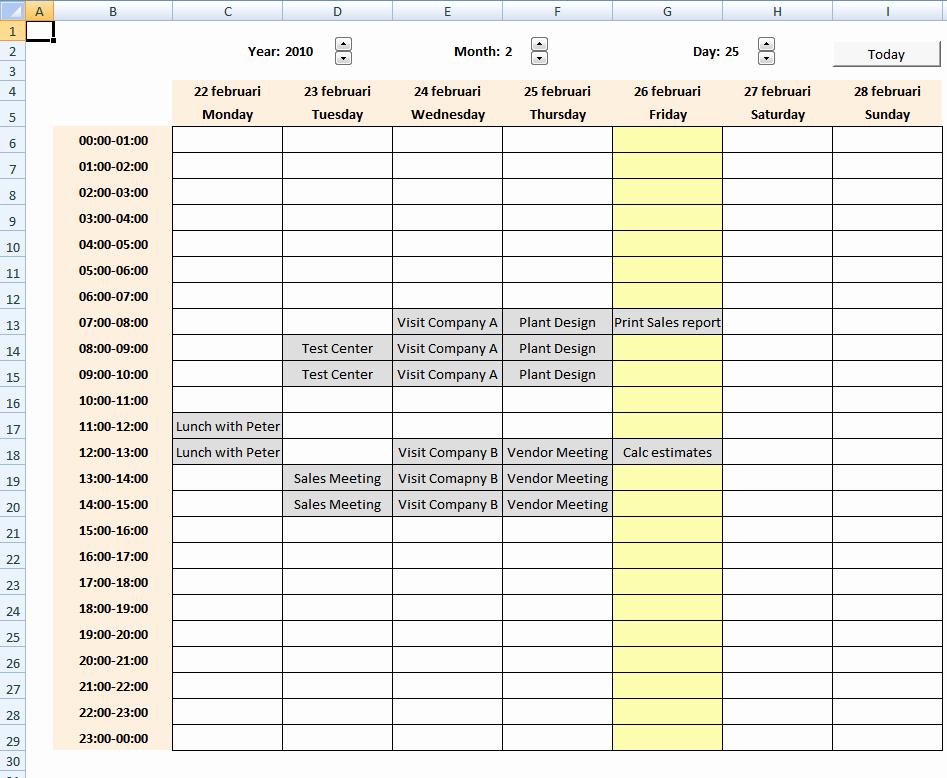 Excel Calendar Schedule Template Lovely Weekly Calendar Excel