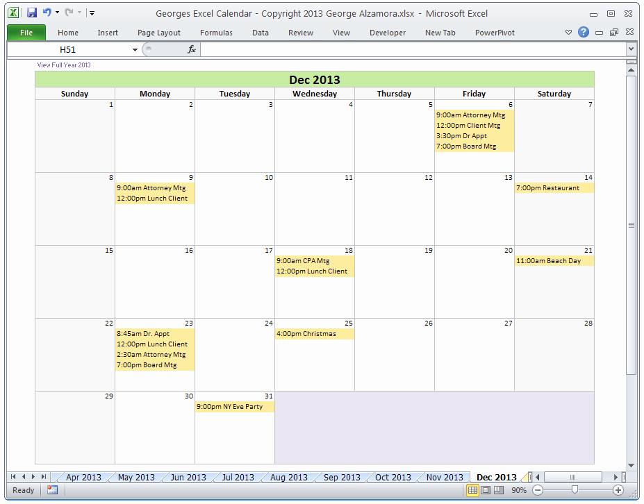 Excel Calendar Schedule Template Luxury Excel Calendar Template
