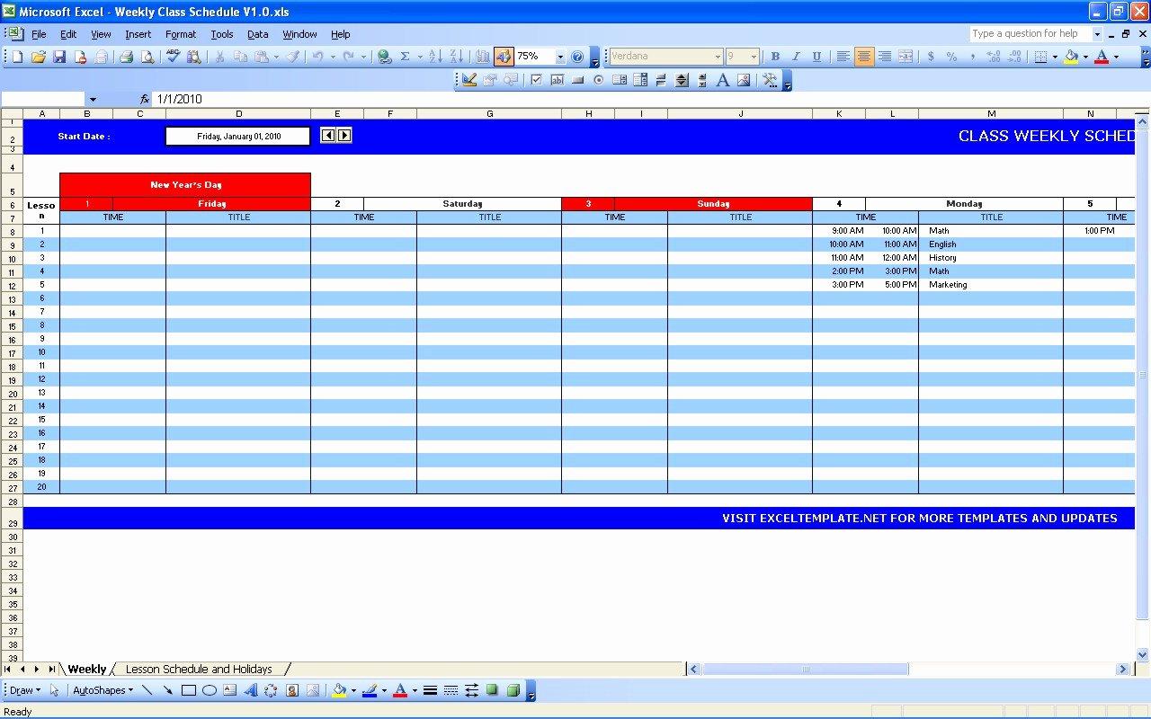 Excel Calendar Schedule Template New Weekly Class Schedule