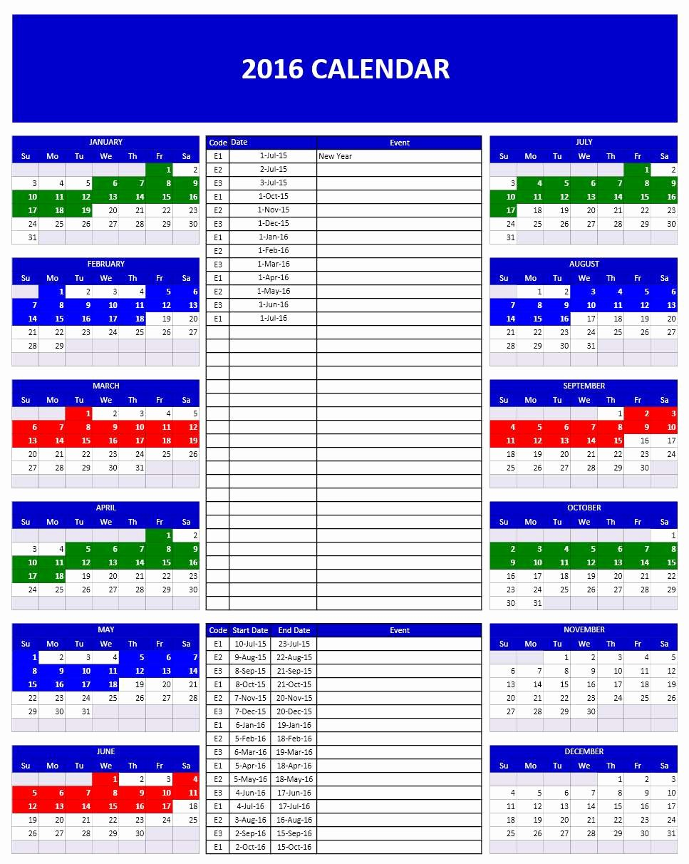 Excel Calendar Schedule Template Unique 2016 Calendar Templates