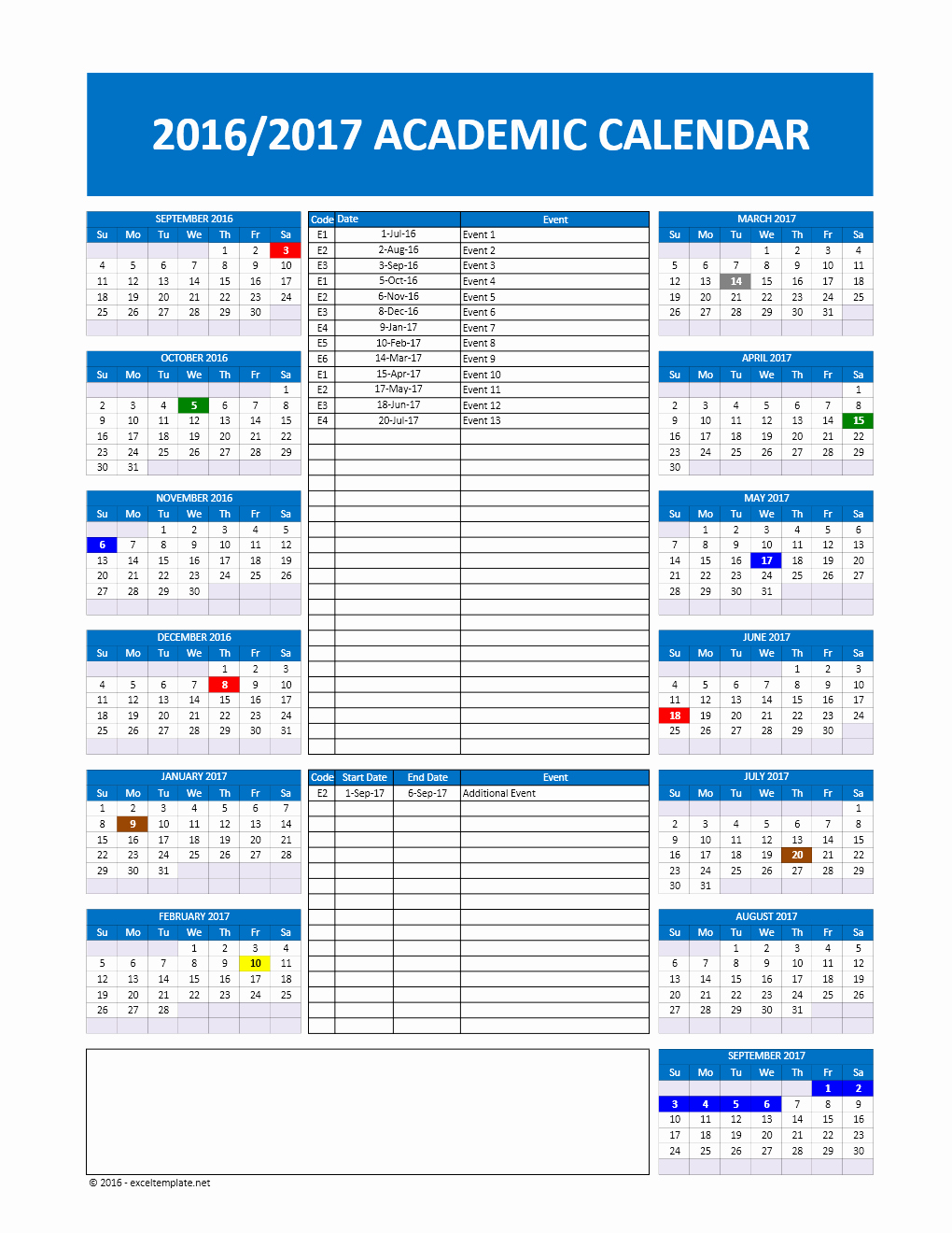 Excel Calendar Schedule Template Unique 2017 2018 and 2016 2017 School Calendar Templates