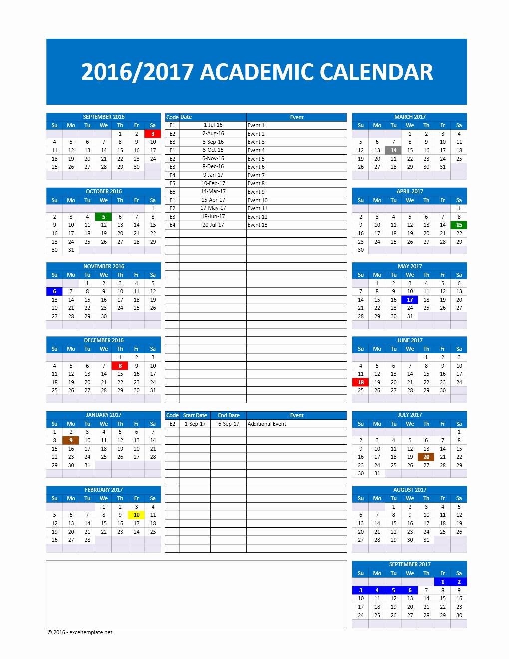 Excel Calendar Schedule Template Unique 2017 2018 and 2016 2017 School Calendar Templates