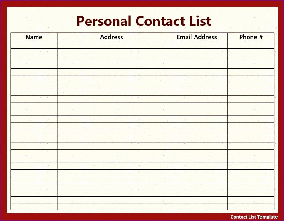 Excel Contact List Template Beautiful 12 Excel Address List Template Exceltemplates