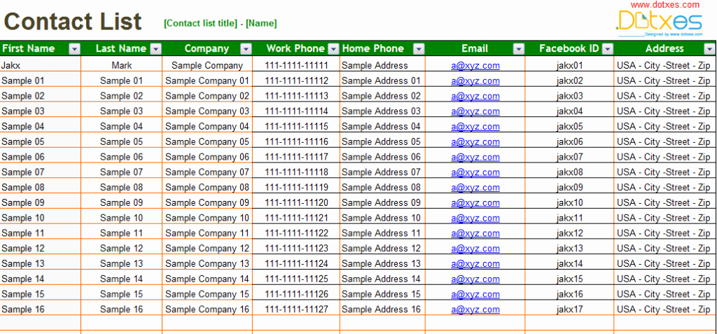 Excel Contact List Template Lovely Basic Contact List Template Dotxes