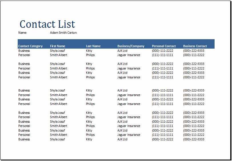 Excel Contact List Template New Word Prehensive Contact List Template Document