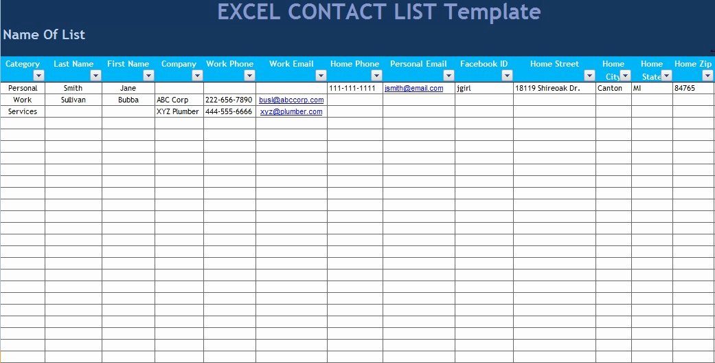 Excel Contact List Template Unique Get Excel Contact List Template