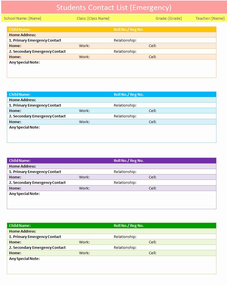 Excel Contact List Template Unique Students Contact List Template Emergency Dotxes