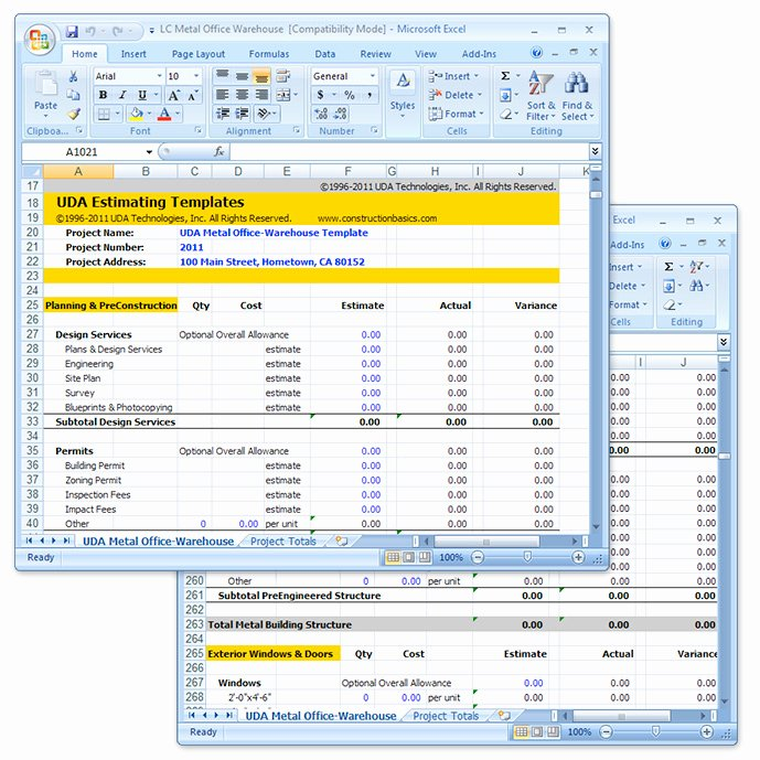 Excel Cost Estimate Template Best Of Uda Construction Estimating Templates Light Mercial