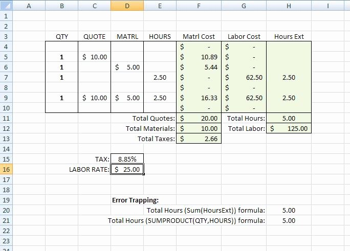 Excel Cost Estimate Template Elegant Building A Simple Estimating Template In Excel Tm Iii