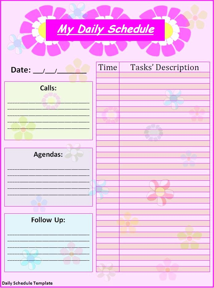 Excel Daily Schedule Template Awesome 7 Daily Schedule Templates Excel Pdf formats