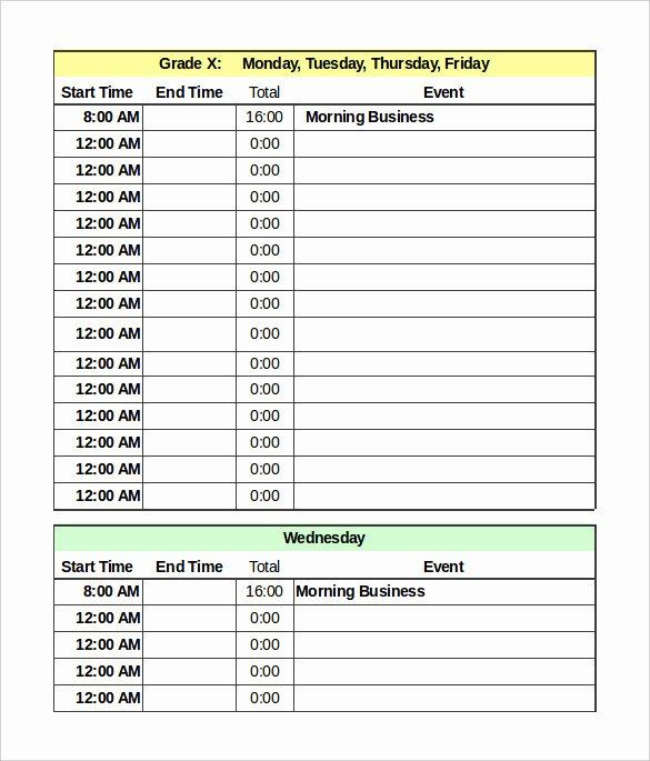 Excel Daily Schedule Template Beautiful Daily Schedule Template 37 Free Word Excel Pdf