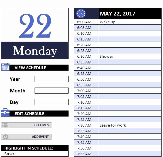 Excel Daily Schedule Template Beautiful Daily Work Schedule Myexceltemplates Schedule Template