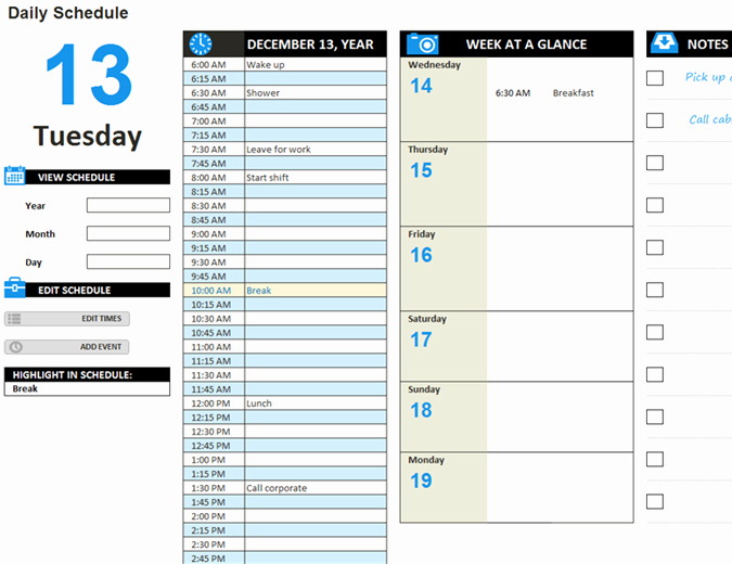 Excel Daily Schedule Template Fresh Daily Work Schedule Template
