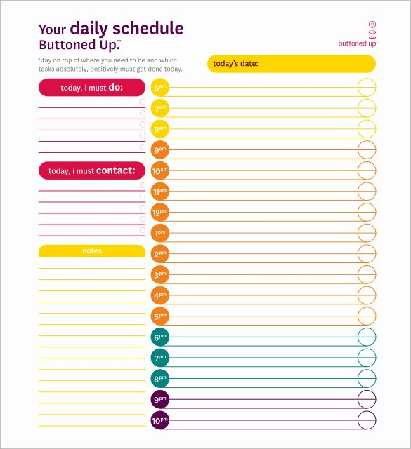 Excel Daily Schedule Template New Daily Schedule Template 37 Free Word Excel Pdf