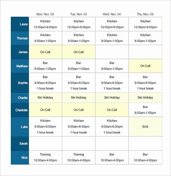 Excel Employee Shift Schedule Template Beautiful Employee Shift Schedule Template 12 Free Word Excel
