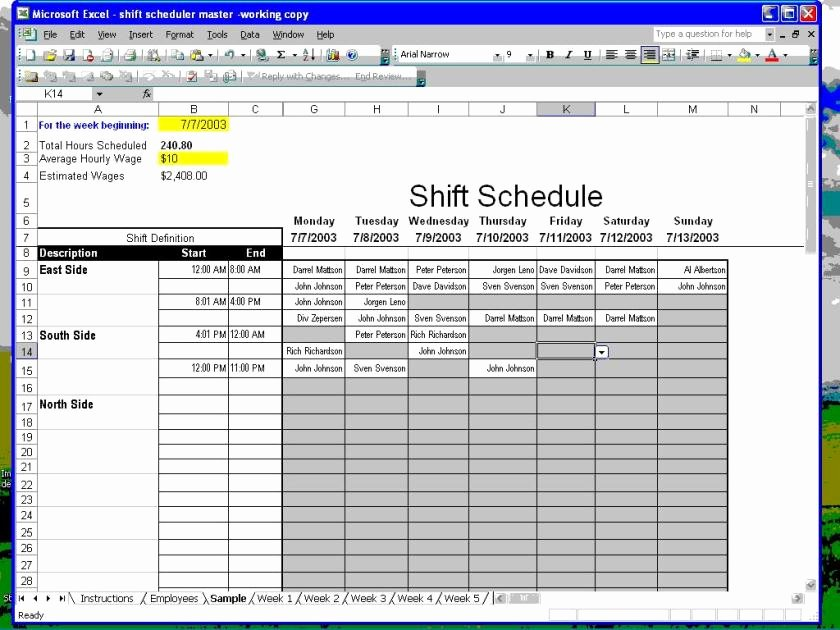 Excel Employee Shift Schedule Template Elegant Excel Shift Schedule Template