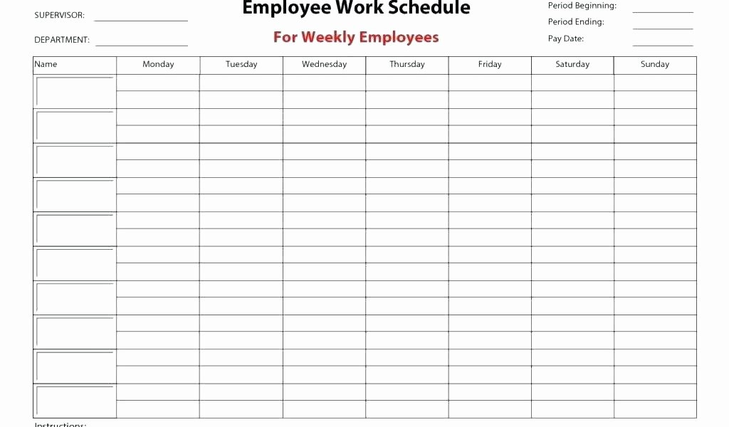Excel Employee Shift Schedule Template Fresh Employee Work Schedule Template Monthly Employees Free
