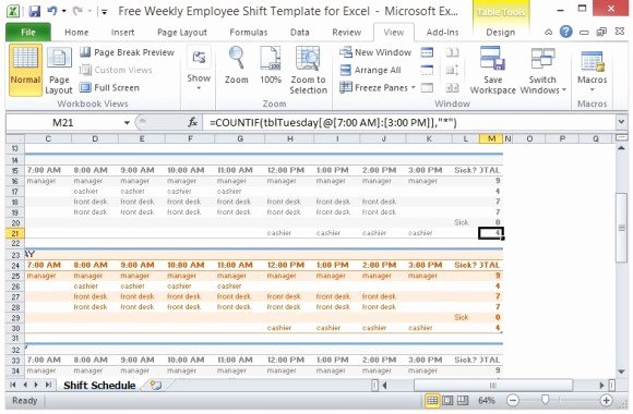 Excel Employee Shift Schedule Template Inspirational Free Weekly Employee Shift Template for Excel