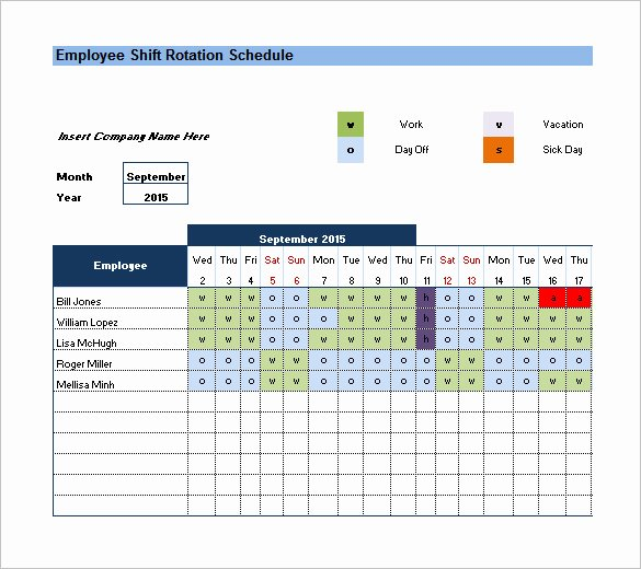 Excel Employee Shift Schedule Template Unique Rotating Schedule Template