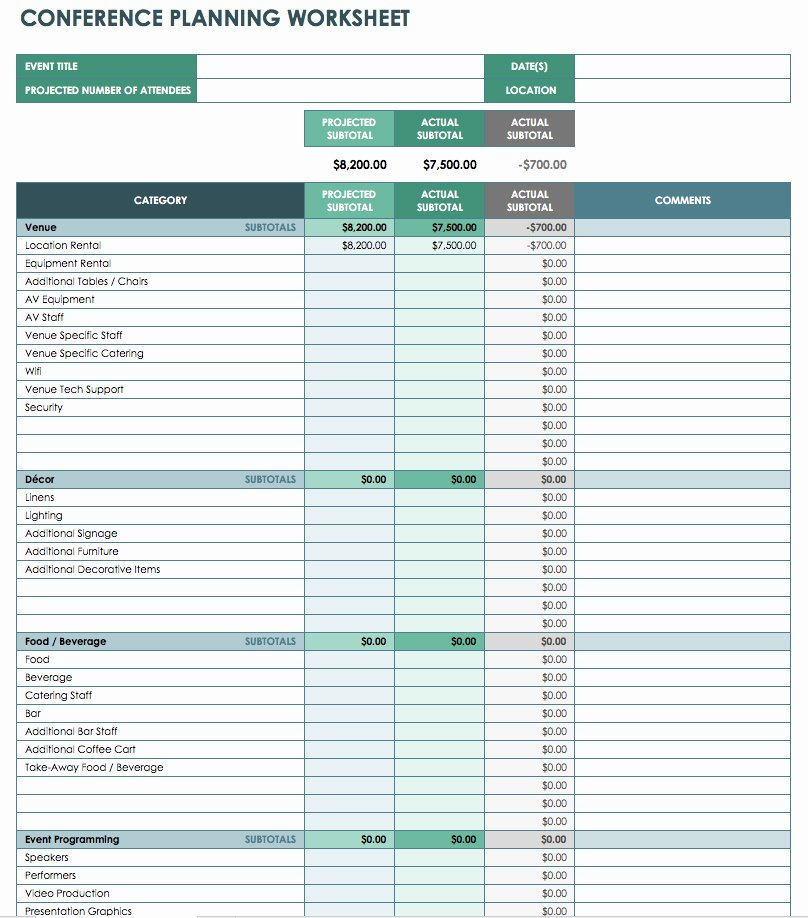 Excel event Planning Template Awesome Free event Bud Templates Smartsheet