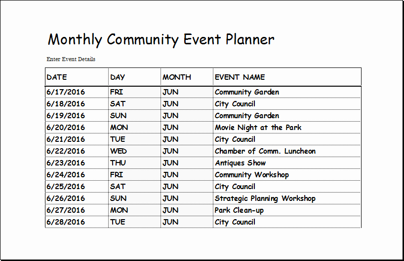 Excel event Planning Template Beautiful Munity event Planner Template for Excel