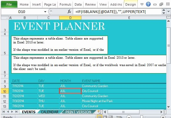 Excel event Planning Template Beautiful Munity events Planner for Excel
