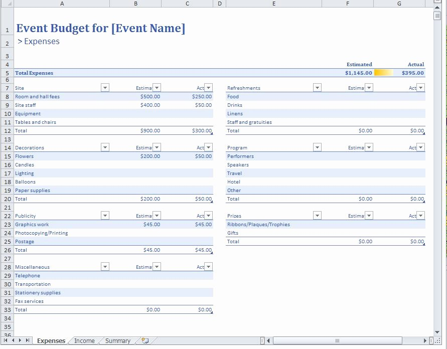 Excel event Planning Template Best Of event Bud Template