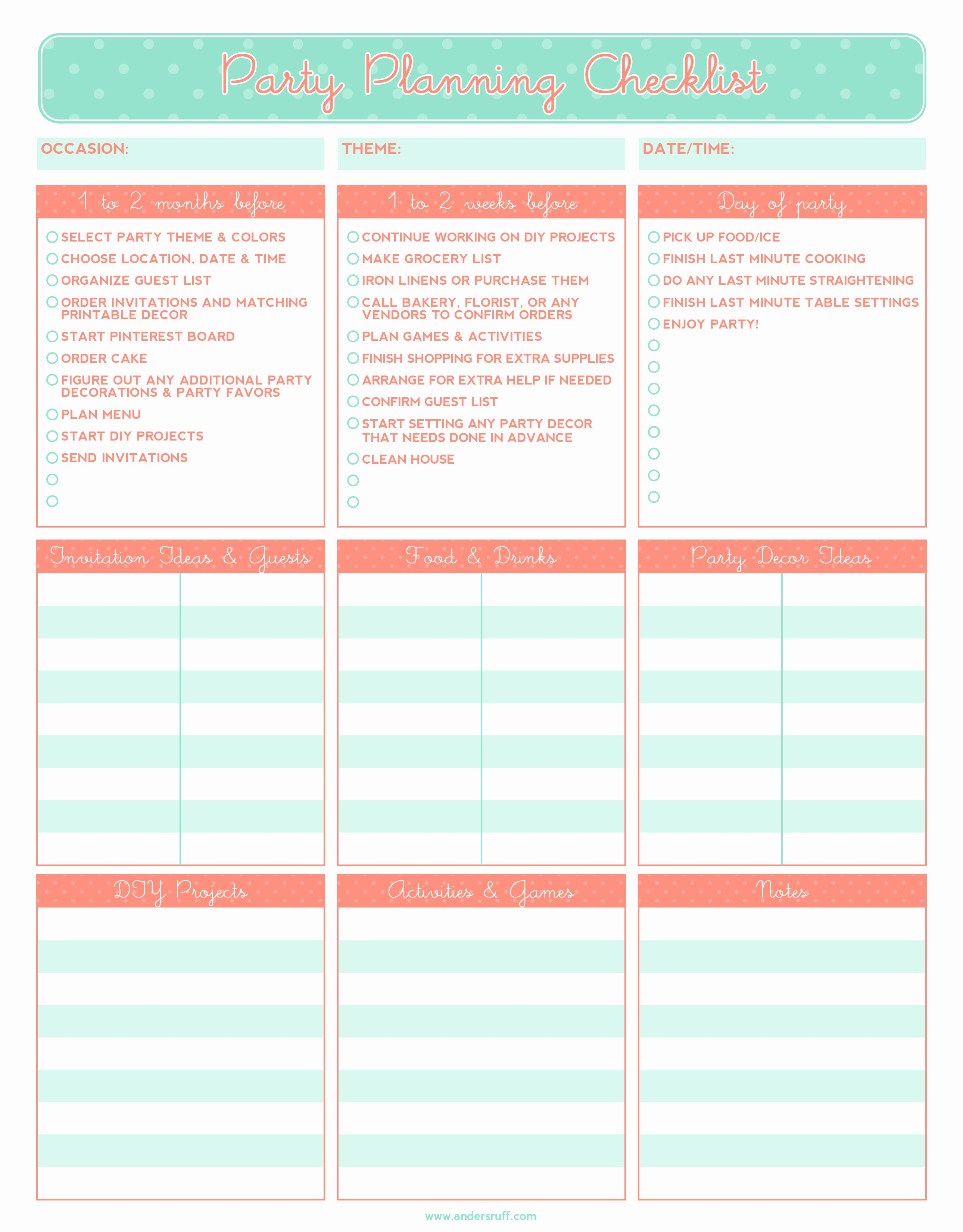 Excel event Planning Template Inspirational 5 Party Planning Templates Excel Xlts