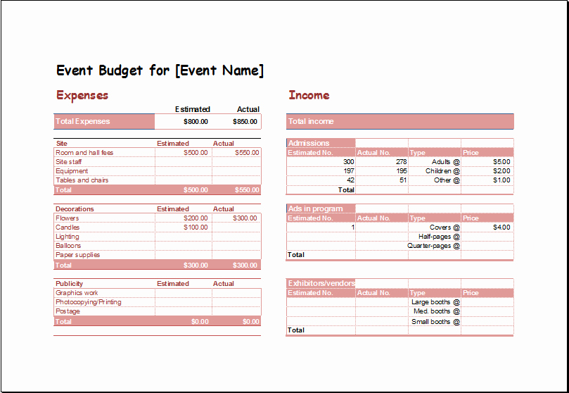 Excel event Planning Template Lovely event Bud Planning Spreadsheet Template