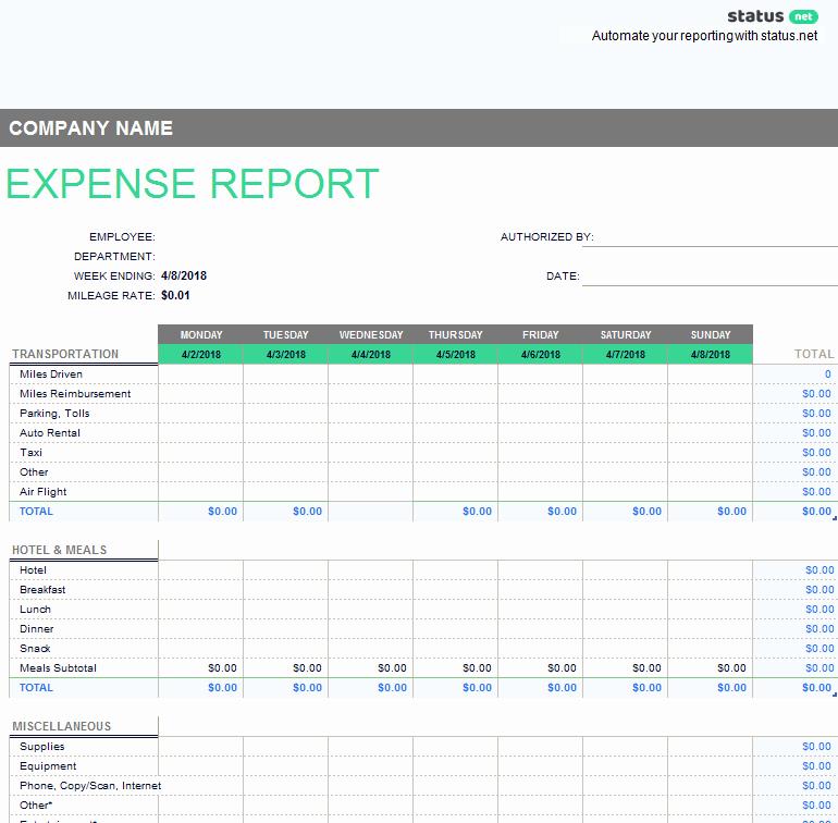 Excel Expense Report Template Beautiful 10 Outstanding Templates Of Weekly Reports