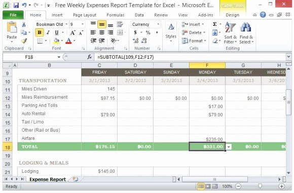 Excel Expense Report Template Free Fresh Free Weekly Expenses Report Template for Excel