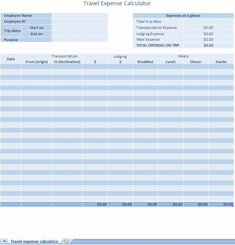 Excel Expense Report Template Free New Excel Expense Report Template