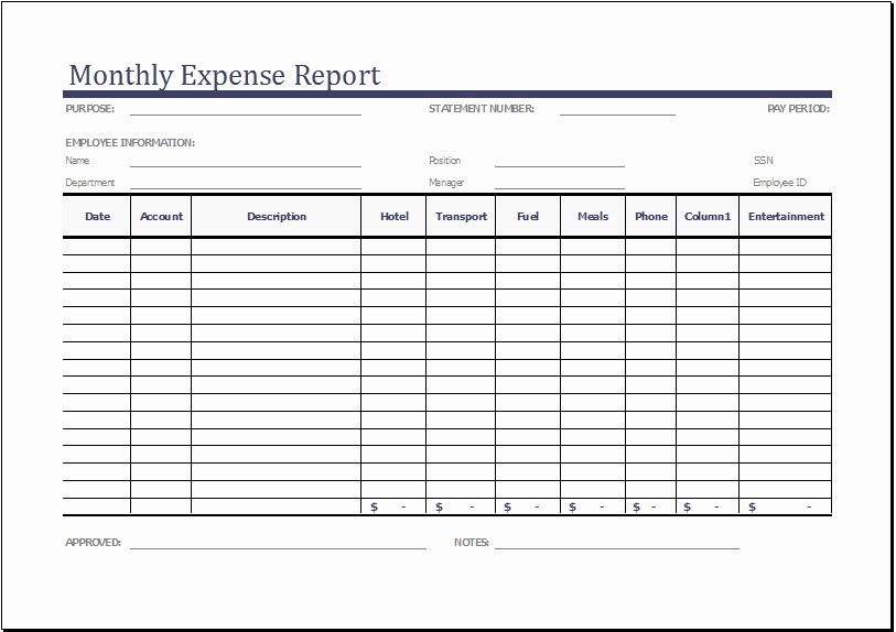 Excel Expense Report Template Fresh Monthly Expense Report Template