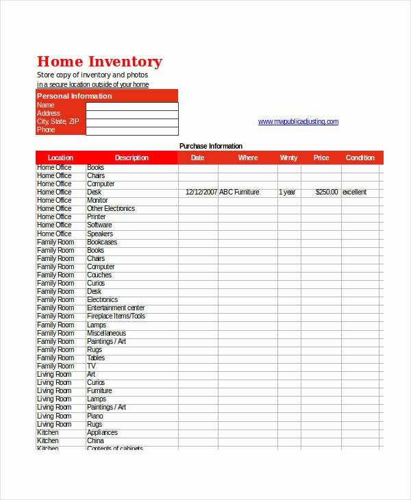 Excel Home Inventory Template Fresh Excel Inventory Templates 9 Free Excel Documents