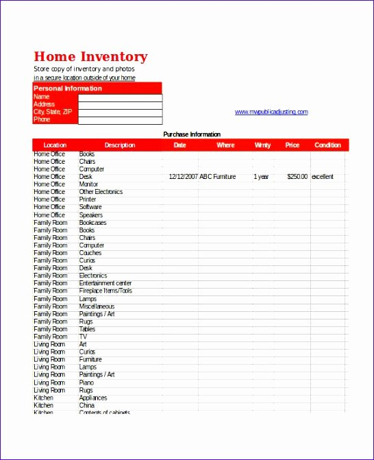 Excel Home Inventory Template Luxury 10 Excel Home Inventory Template Exceltemplates