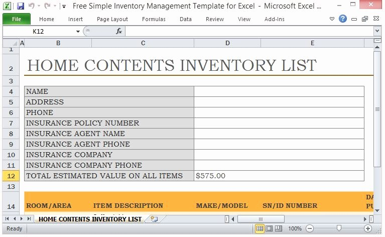 Excel Home Inventory Template Luxury Free Simple Inventory Management Template for Excel