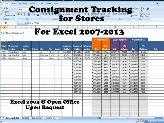 Excel Inventory Tracking Template Beautiful Inventory and Sales Consignment Tracking for Stores Track
