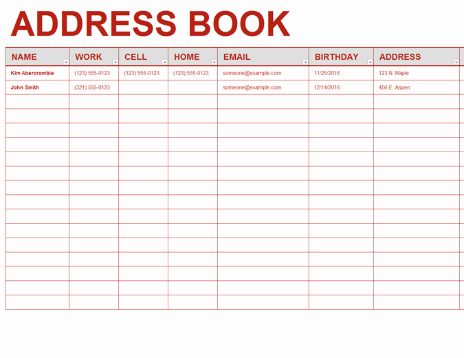Excel Mailing List Template Elegant Personal Address Book